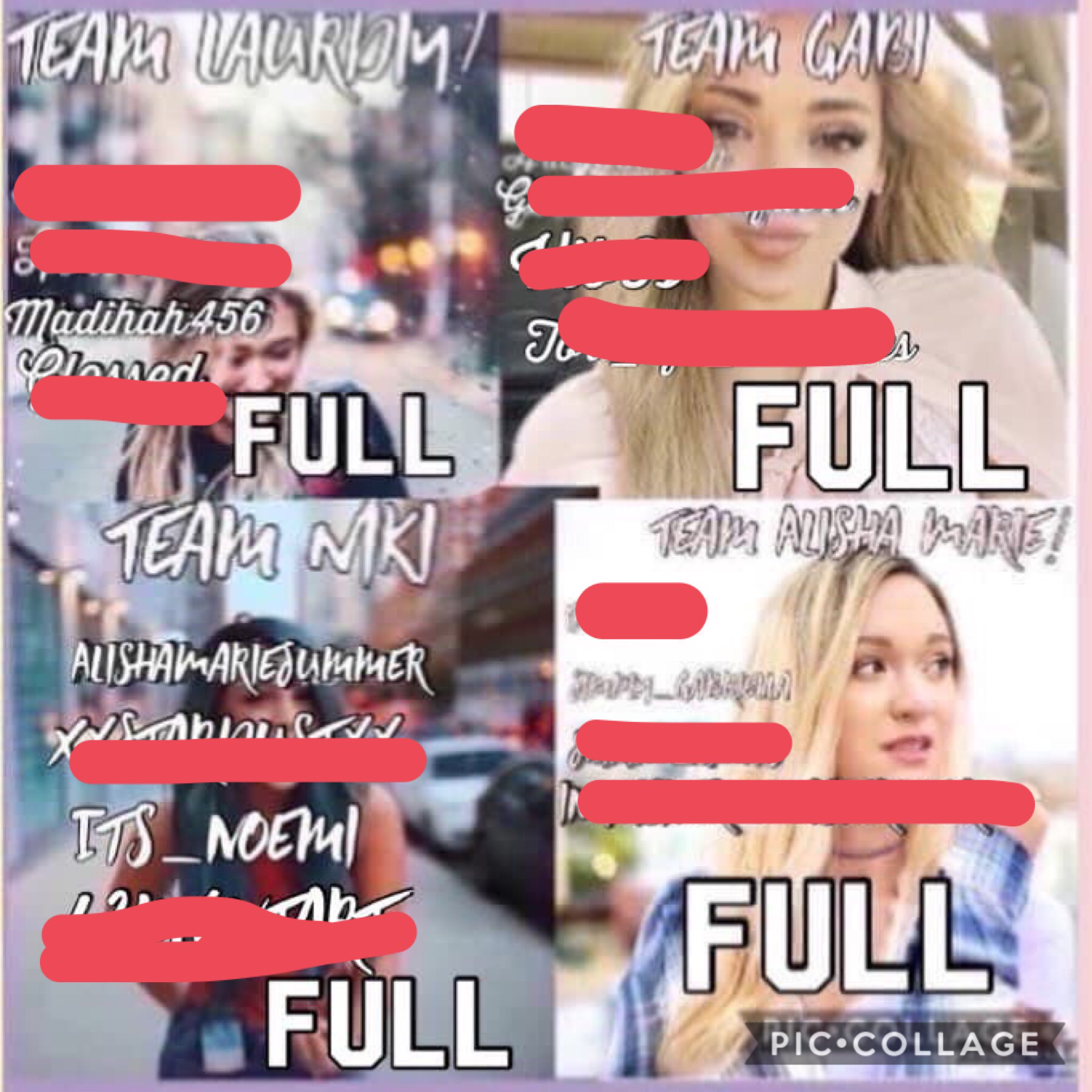 Sorry It was really hard to choose.. I gave and extremely big extension and Team Gabi Hasn't entered so I eliminated Team Gabi so I had to keep the two people in Team Niki.. Next round/Semi Finals will be posted soon! Good luck!
