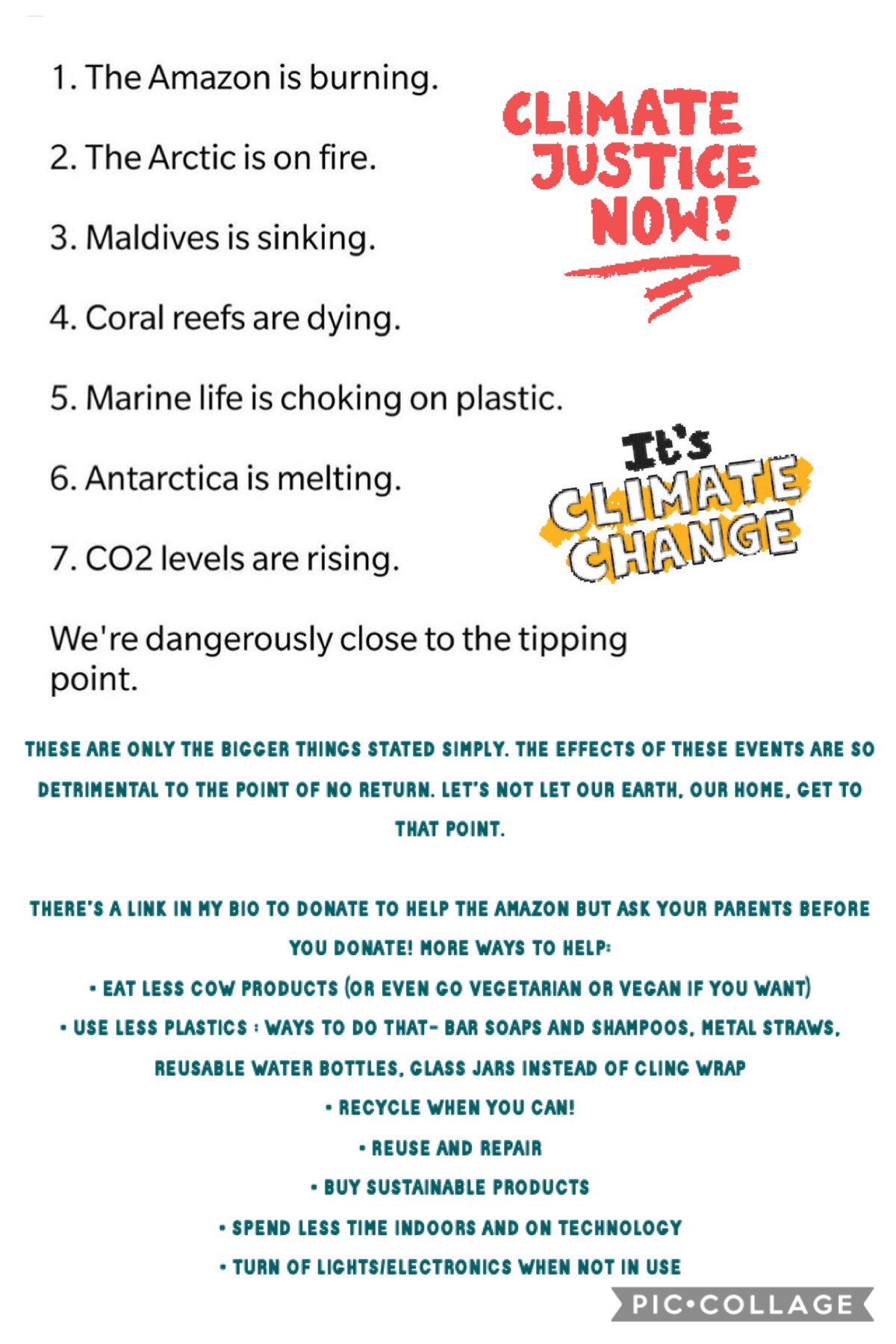 comment your own ways you are combatting climate change! you do not have to do all of these, but try to do as much as you can. we need more people living sustainably imperfectly than a few living sustainably perfectly