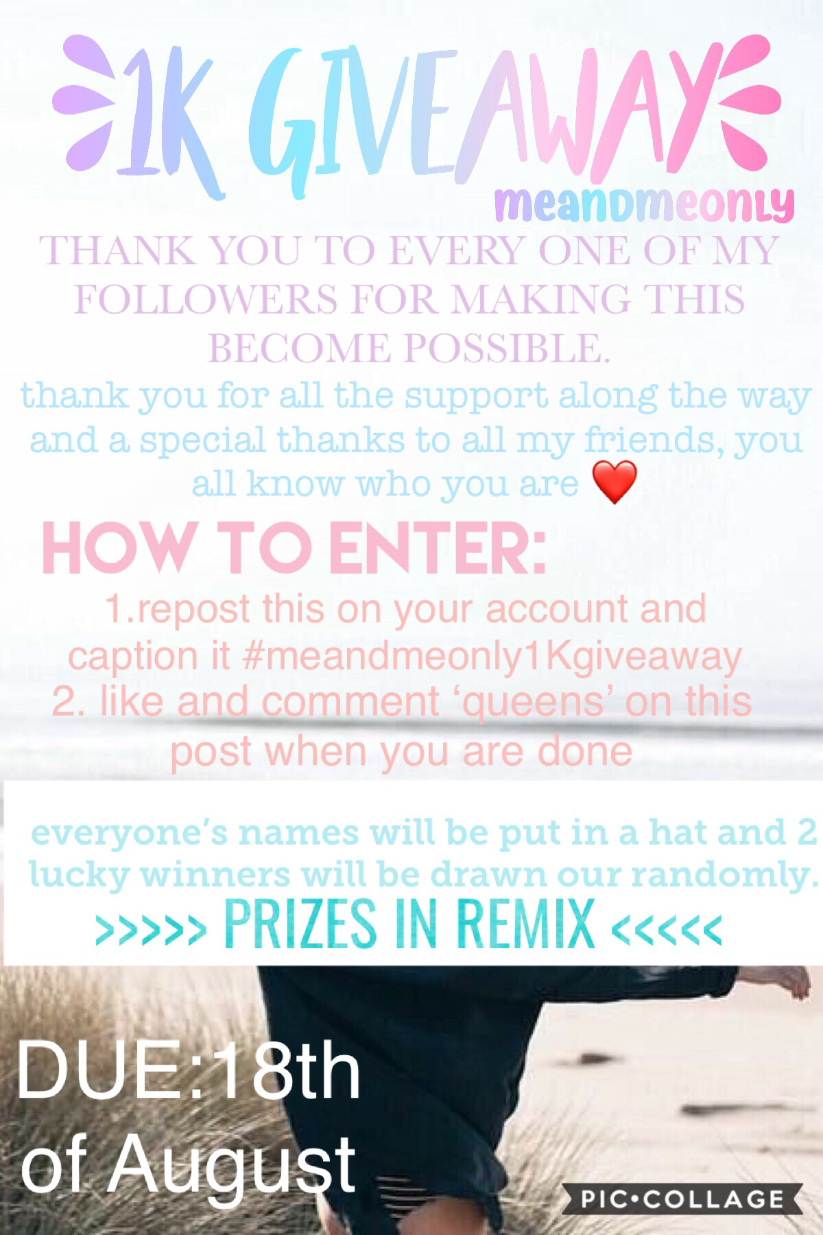 1K giveaway contest!! THANK YOU SO SO MUCH FOR 1K EVERYONE! I love all my followers, this made my day so i decided to do a giveaway to give back to y'all. please enter, there are such great prizes, prizes in remix btw. THANKS AGAIN❤️❤️ I can't even believ