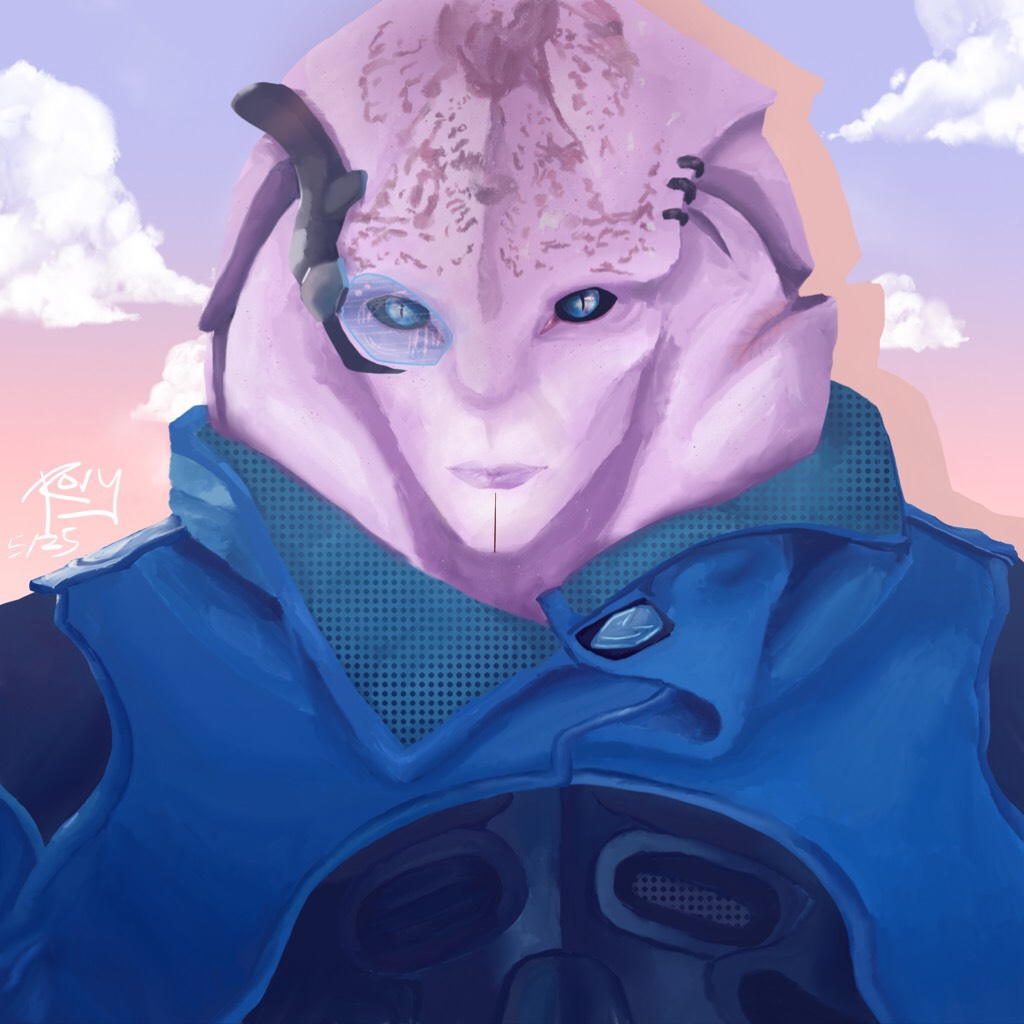 FINALLY🌸I've been playing mass effect andromeda a lot recently, so I decided to try and paint Jaal, because he's perfect and I'm currently trying to romance him. Not totally happy with it, but it's as good as it'll get for now