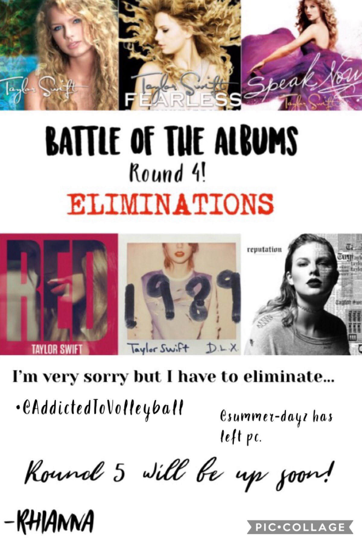 Again I am so sorry if you were eliminated!