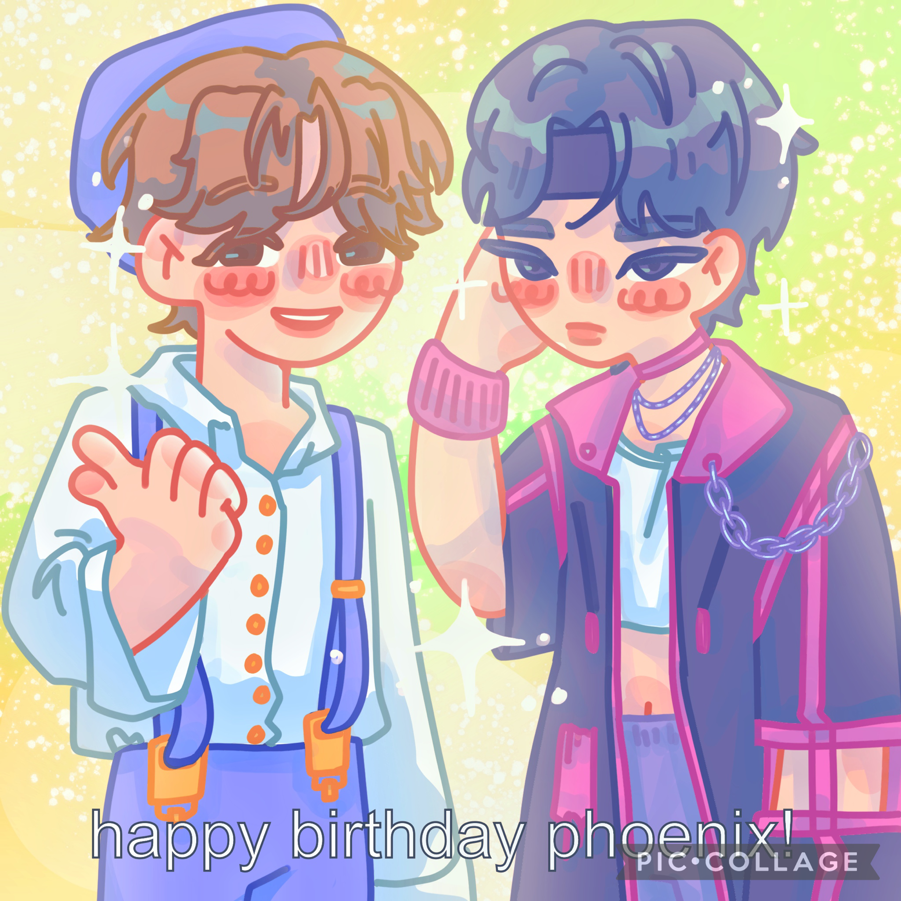 Something i made for my friends bday it's supposed to be some kpop ppl whose names I cannot rmb also sorry still no time to comment and reply and things