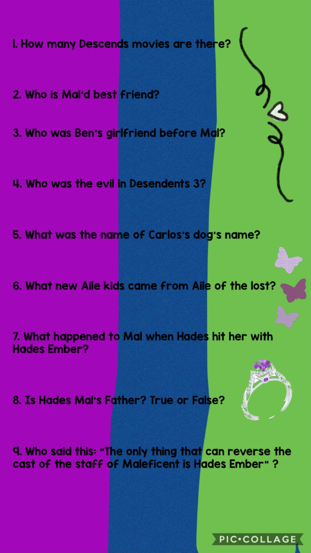 Here are the Decendents questions