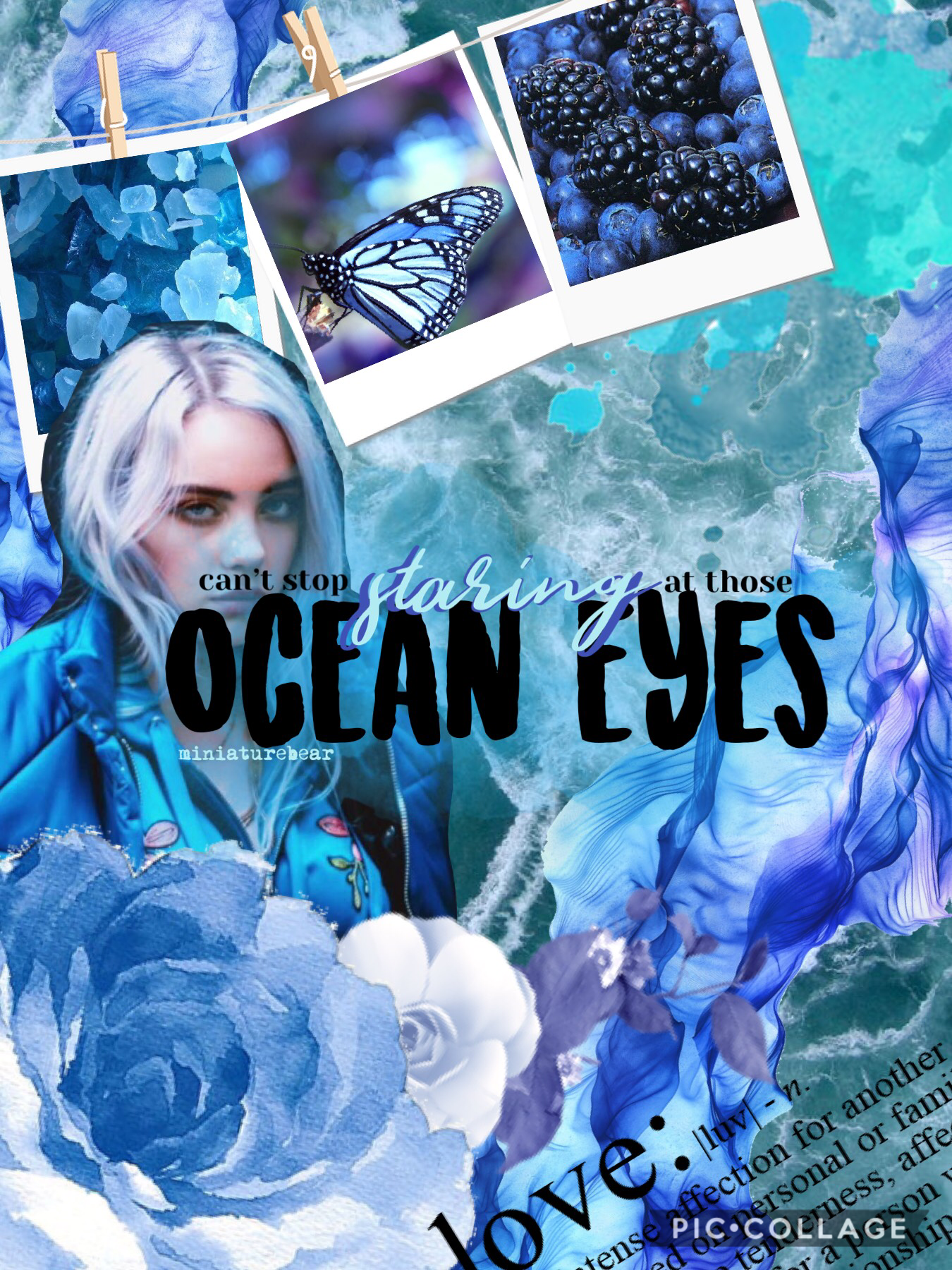 "From ""Ocean Eyes"" by Billie Eilish. Hey guys! I know its been a while since I've posted. School has been stressful lately. But I'm trying this new style of collages. Lmk what you think about it!"