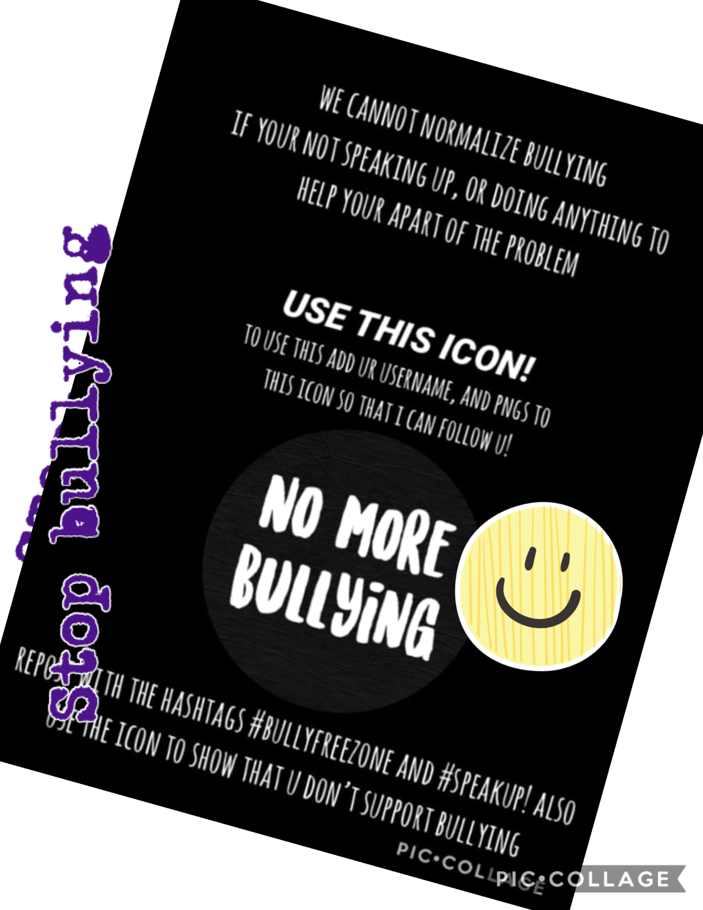 Stop bullying !!! Treat people equally and respect people the way YOU want to be respected.