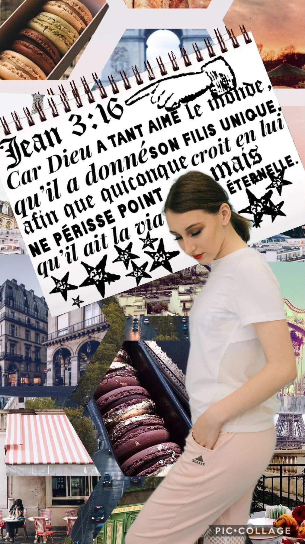 🗼🇫🇷TAP🇫🇷🗼 I decided to make a collage in French.   The verse is John 3:16 and I thought that it really applied to us nowadays.   God gave his son for the whole world, not just for one nationality of people. Jesus is there to save anyone around the globe.