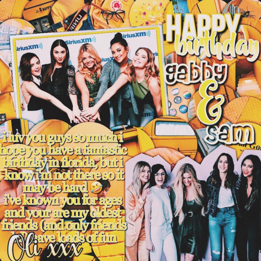 happy birthday to sunnywaves aka gabby and her twin sam i luv you sm xxxxxxxx