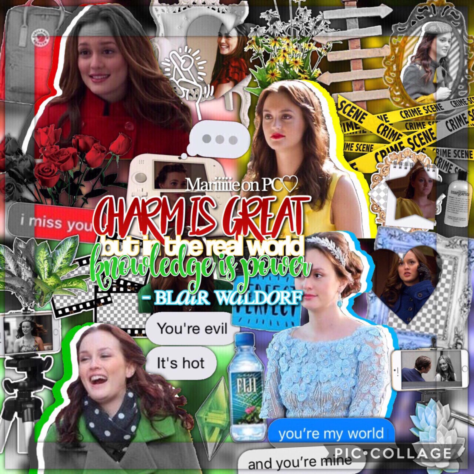 🌈- T A P -🌈  Blair Waldorf edit! Hope you will like this!💙  Hope you guys are enjoying the beginning of the summer!😊  You are almost 1.3k!!! You guys are the best!!❤️❤️  QOTD - Beach or mountain?  AOTD -  beach🏖