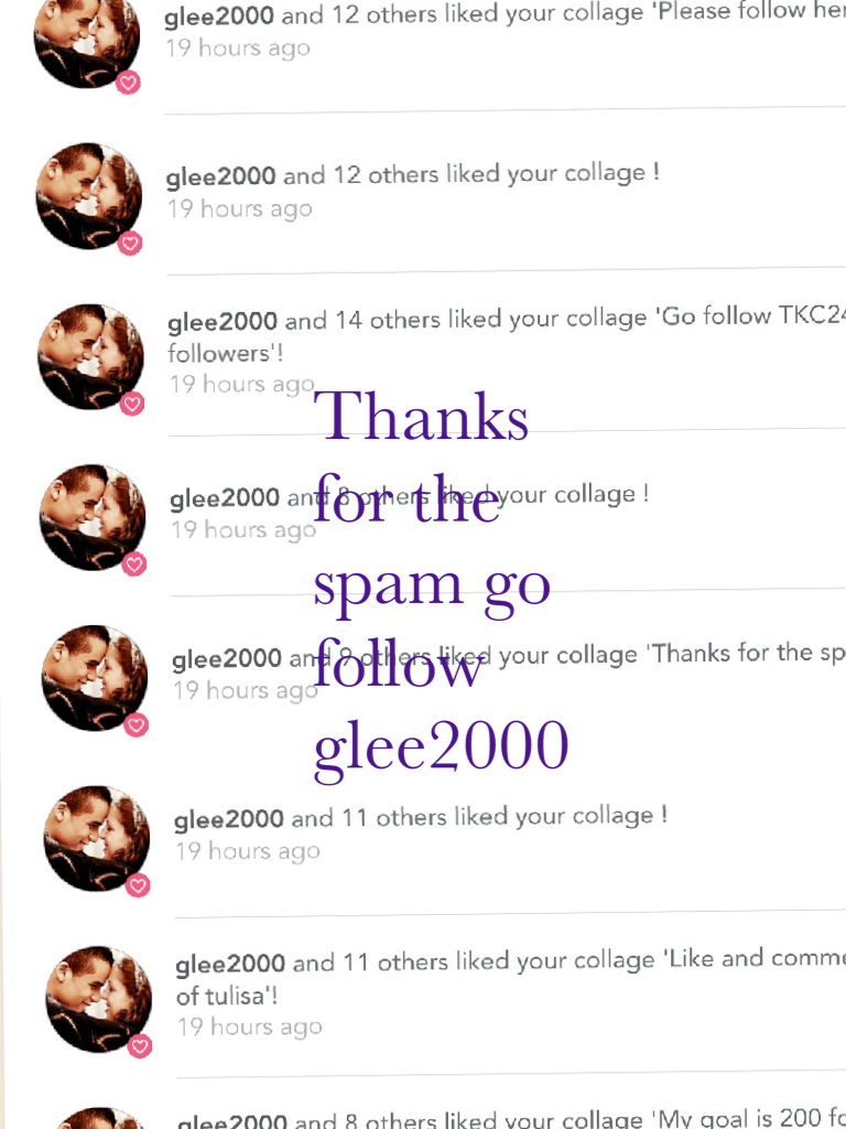 Thanks for the spam go follow glee2000