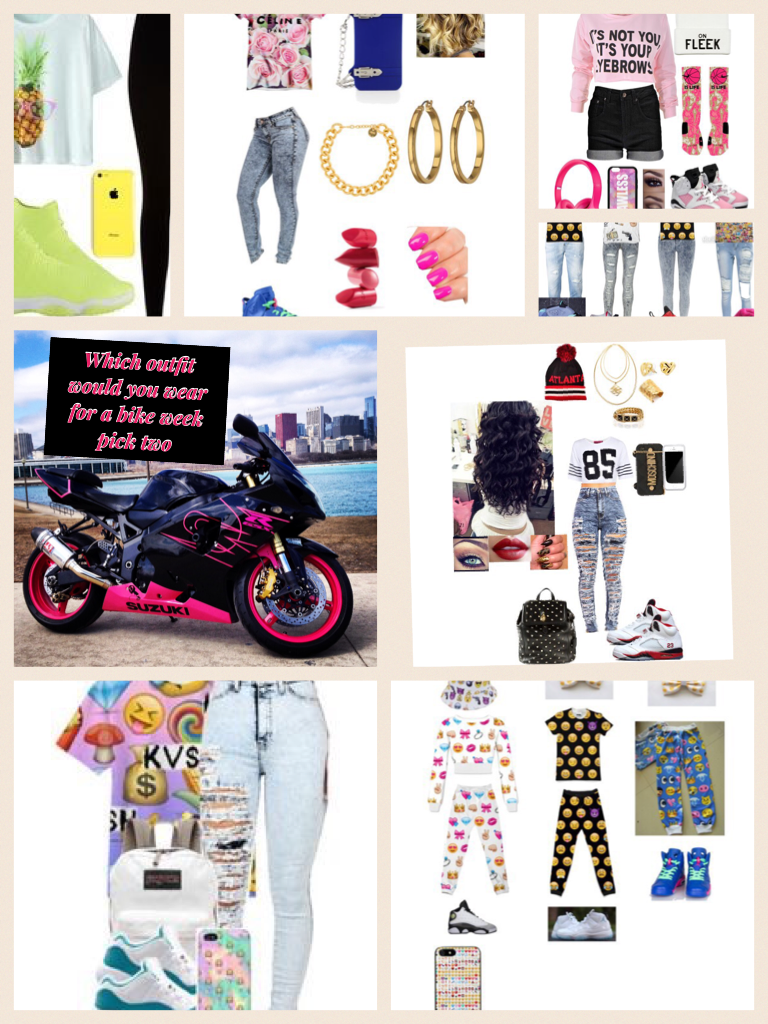 Which outfit would you wear for a bike week pick two