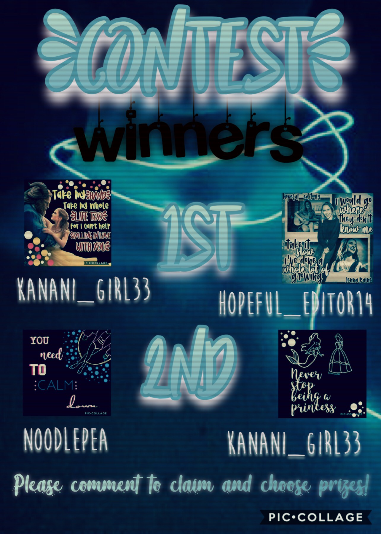 💎💎TAP💎💎  Contest winners!   Sorry for the wait!  Due to the little amount of entries I only did first and second, but the number of prizes remain the same!