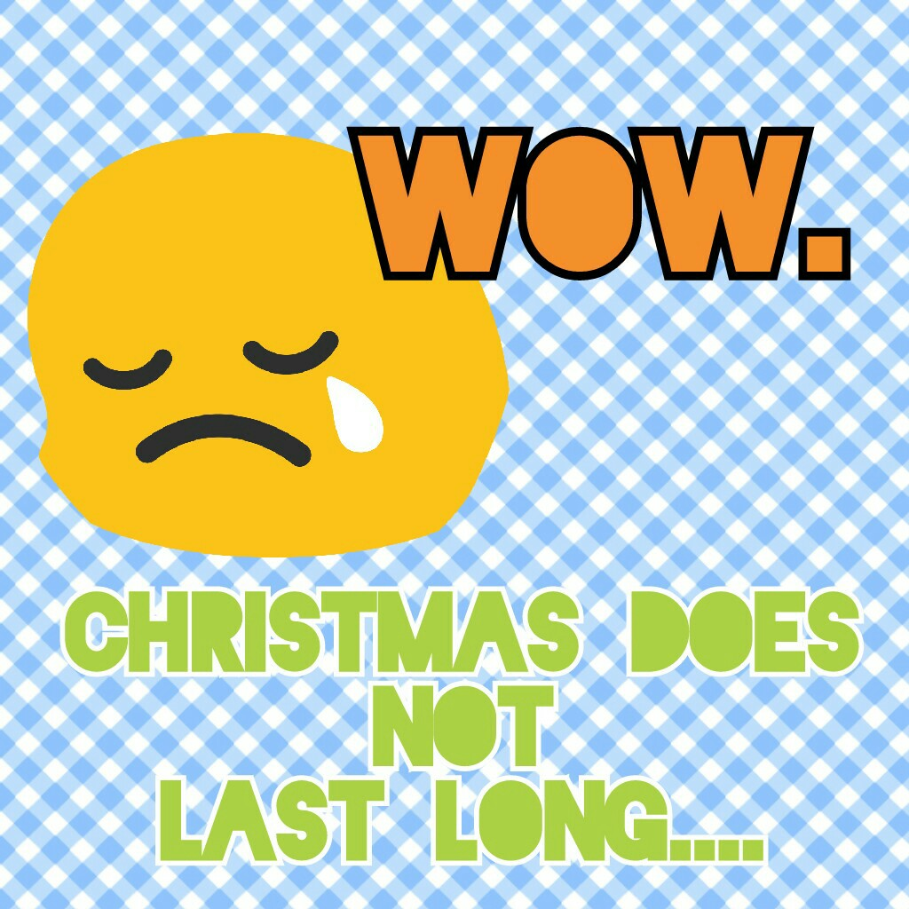 Christmas does NOT Last long....