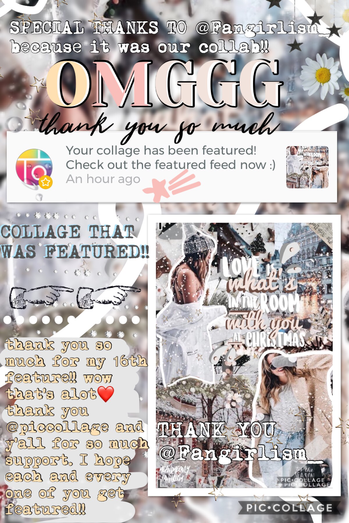 omg my 16th feature!! thank you @Fangirlism_ as this was our collab!! she made the stunning text look so fab❤️ thank you @piccollage again you are so amazing!! lol whoops I feel like I'm posting too much🦋 anyway remember to enter my contest💞✨