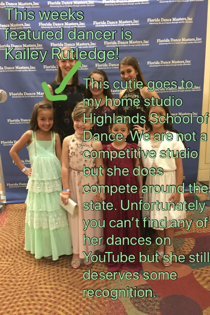 TAPPY This weeks featured dancer is Kailey Rutledge! Kailey is 9 years old  Her awards include- FLORIDA DANCE MASTERS Spring Convention Mini Scholarship, 1st Runner Up Mini Miss Dance 2017, and finally Florida State Fair 1st place mini and 1st place overa