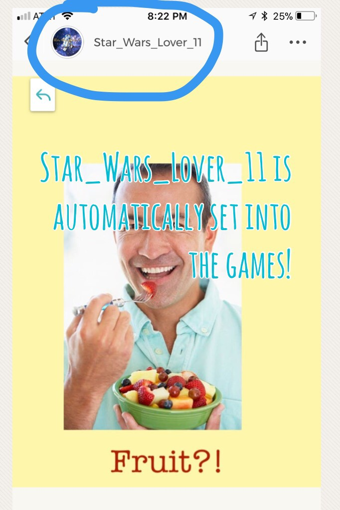 Star_Wars_Lover_11 is automatically set into the games!