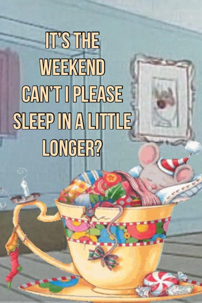 It's the weekend Can't I please sleep in a little longer?