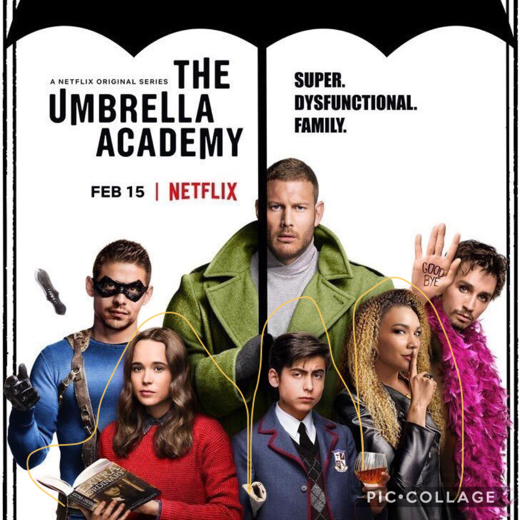 🍍   I'm going to do this thing were I do a collage for each umbrella academy character starting with number 1 (Luther/spaceboy) and then so on !    ~🍍