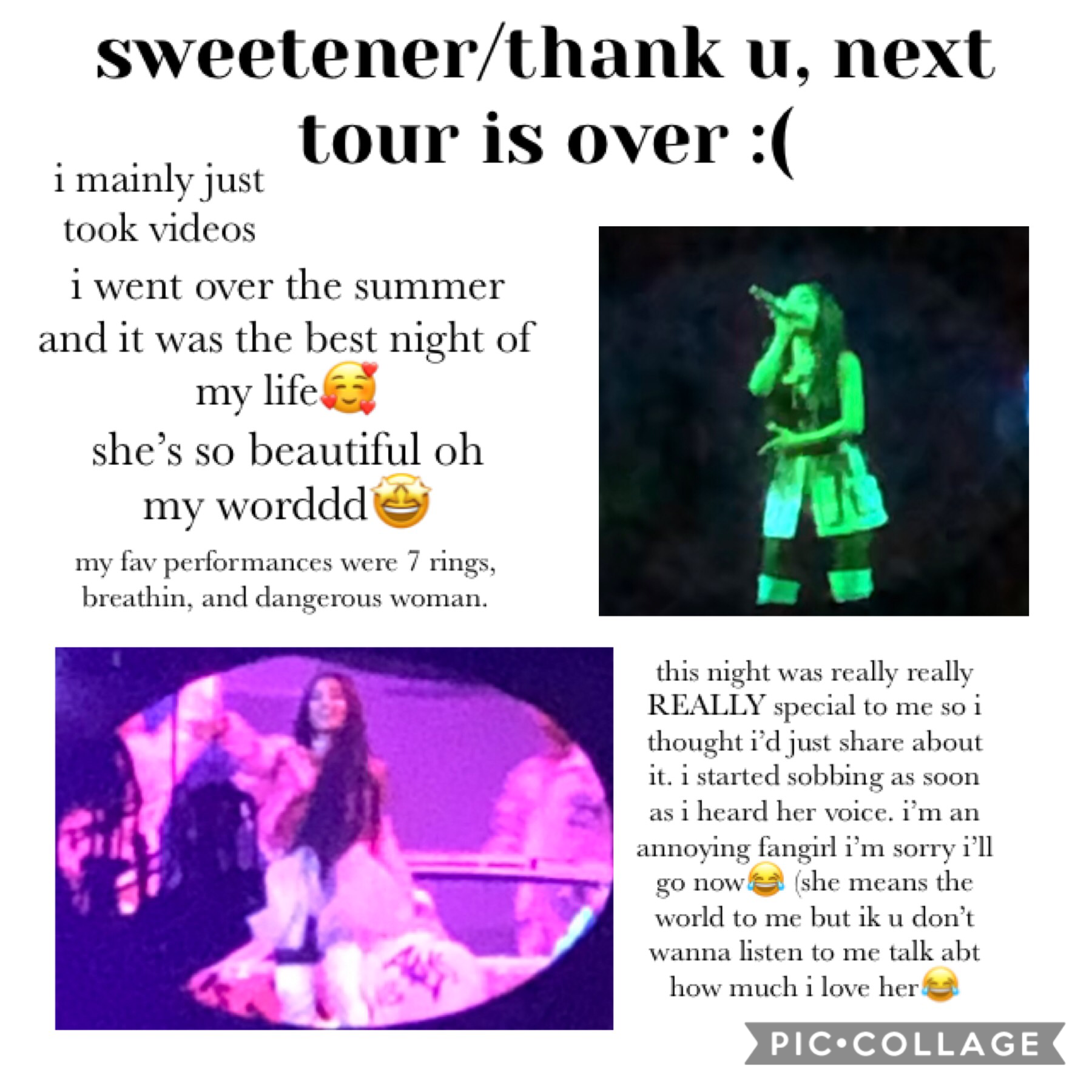 HER LIVE ALBUM IS OUT NOW (tap)  this was literally the best night of my life.  sorry for the terrible layout i waited til tour was over so it wouldn't give away my location :) i probably won't post again before christmas so merry christmas!!♥️ her live a