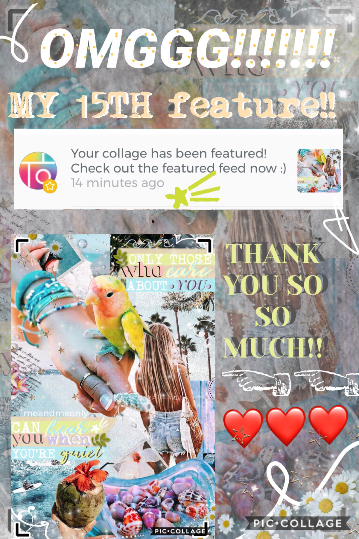 omg thank you so much @piccollage for my 15th feature! and sorry for my super bad layout, haha had to rush it because I gotta go to sleeeppp🥰 thanks again!! love you all xoxo💞💞