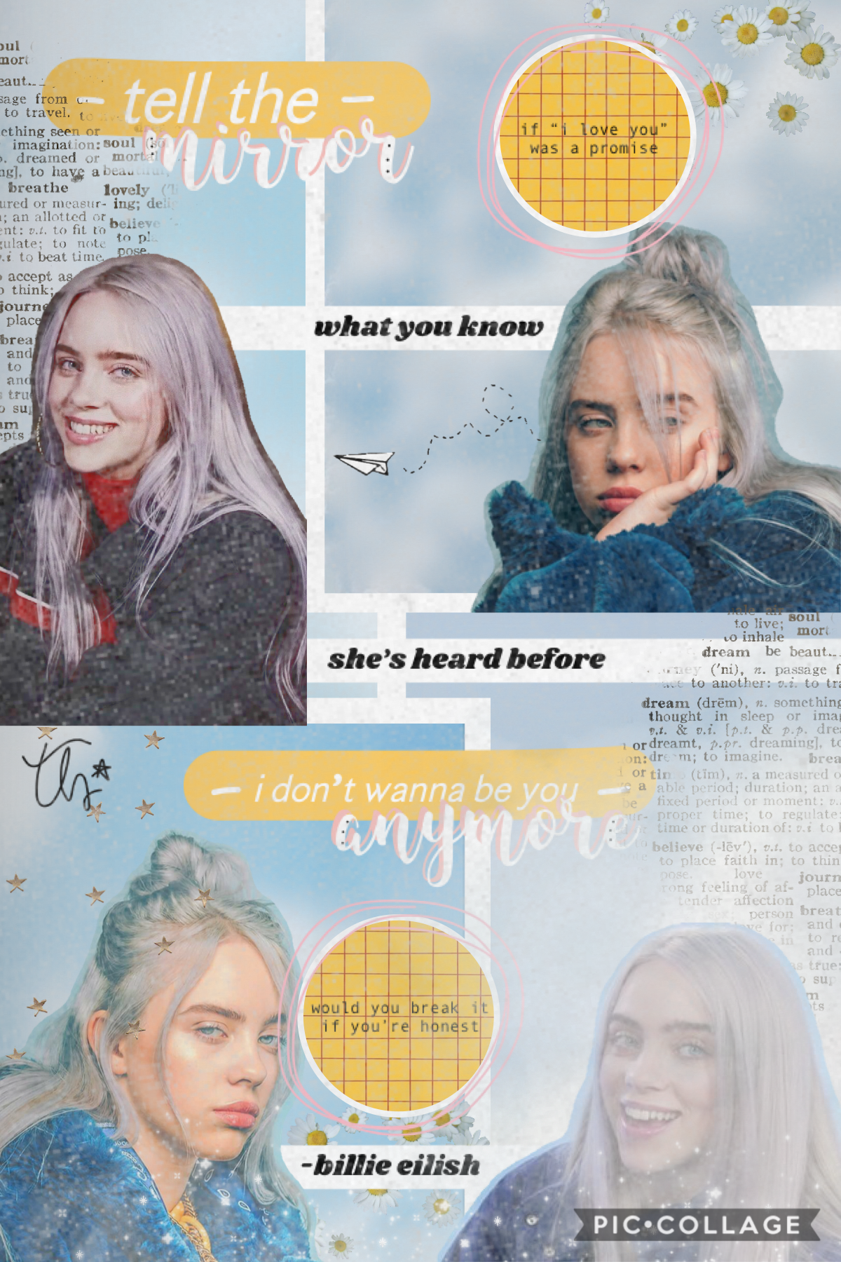 hey シ so this is kind of a basic style but i'm trying to do different styles so it's gonna be interesting ahahahah 😂 this quote is from idontwannabeyouanymore by billie eilishhhh and yes i'm kind of obsessing over her rn ❤️✨