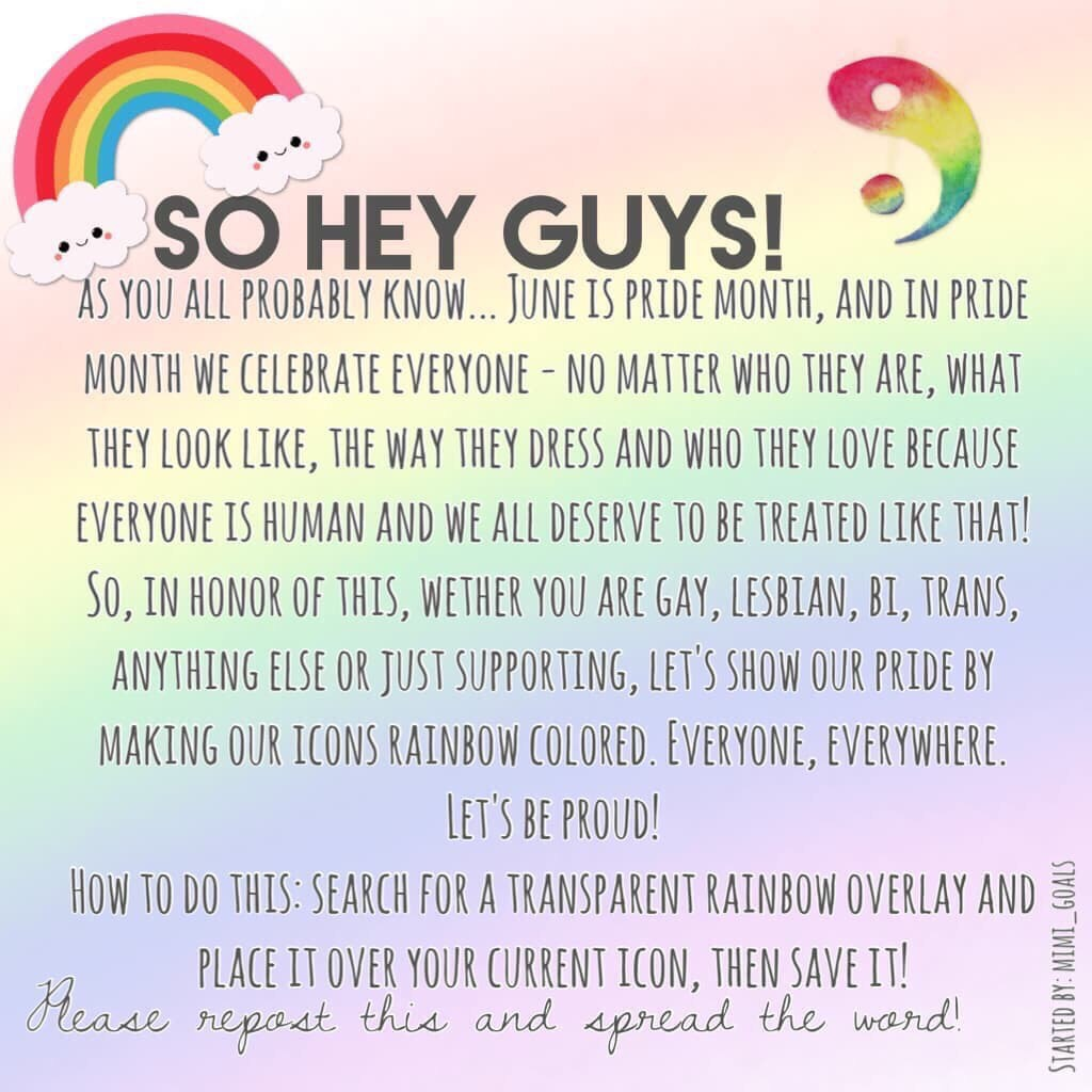 Happy Pride Month!🏳️🌈this was started by @mimi_goals last year, and it'd be really cool if everyone did it again❤️we celebrate everyone, no matter what☮️because each and every person is unique, fantastic, and deserves to not feel áshamed for who they are