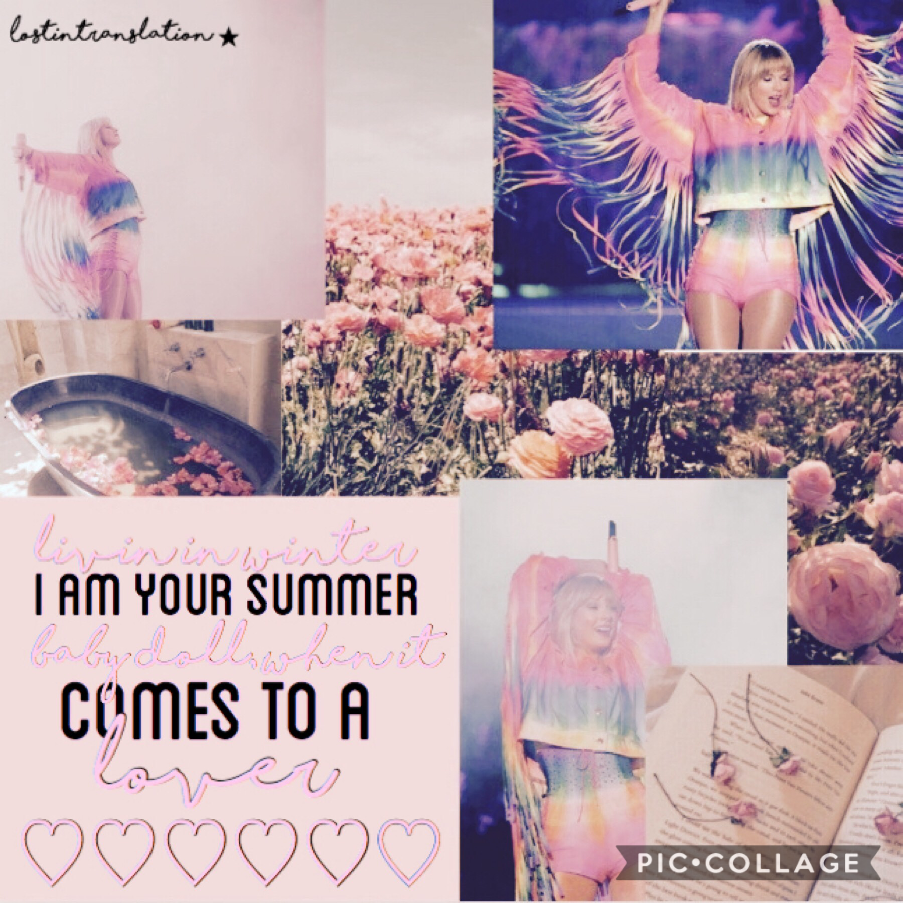 tap! 🌸 this is the first ME! collage i've done! :) tonight {6.13} taylor is doing a live stream on instagram explain things about TS7 at 5pm EST.  ^^^^ make sure you tune in!  QOTD: what do you think the album name is? AOTD: La Vie En Rose? <french for li