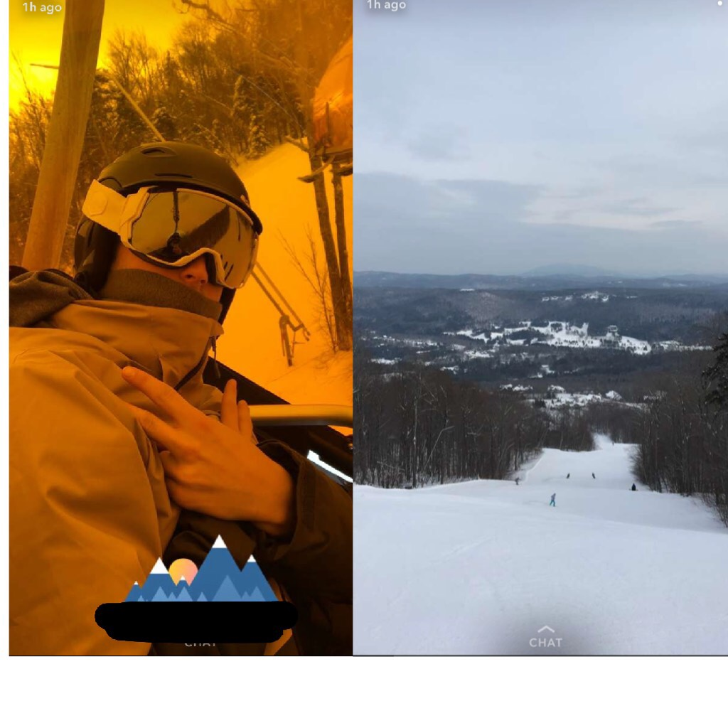 i wish i could see call me by your name but my family is homophobic and nosy and i'm broke so ¯\_(ツ)_/¯   aLSO IM HAVING A LOT OF FUN SKIING WOOT WOOT I LOVE VERMONT  ((that's my brother in the left picture btw))