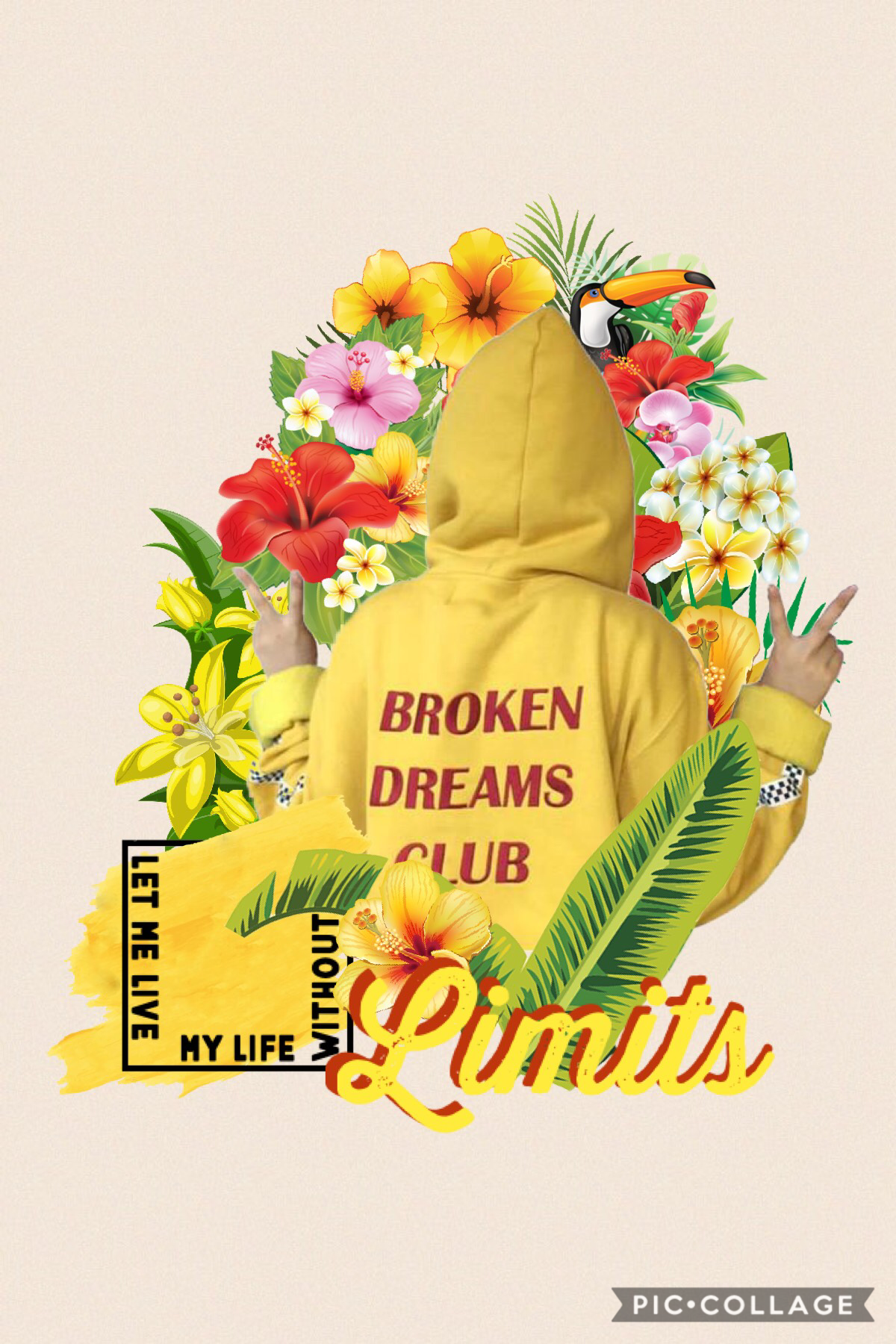t a p The message of this collage is not to give up on your dreams but to show that dreams can be broken and I guess we just have to grow from the struggle and besides misery like company. Also it's yellow 💛💛💛