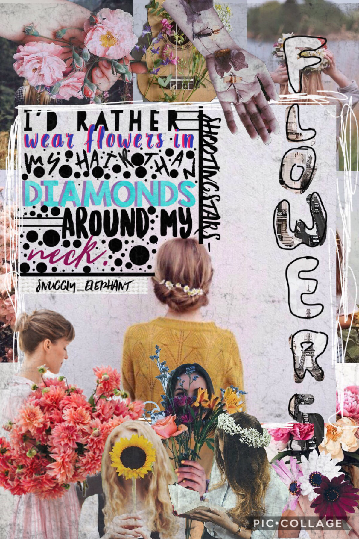 """💐{41/42}Collab with the fantastically super (Tap)💐 Snuggly_Elephant!!! Go follow her! This is my last collage/collab! Next """"collab"""" is a mega collab!  Q// Flowers or Trees? A// Flowers"""