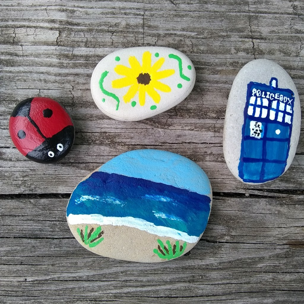 Look at these rocks I painted!  The musical is over now and I am so very sad, all the songs are stuck in my head and I'll never play them again and likely won't see any of my orchestra pit friends again 💔