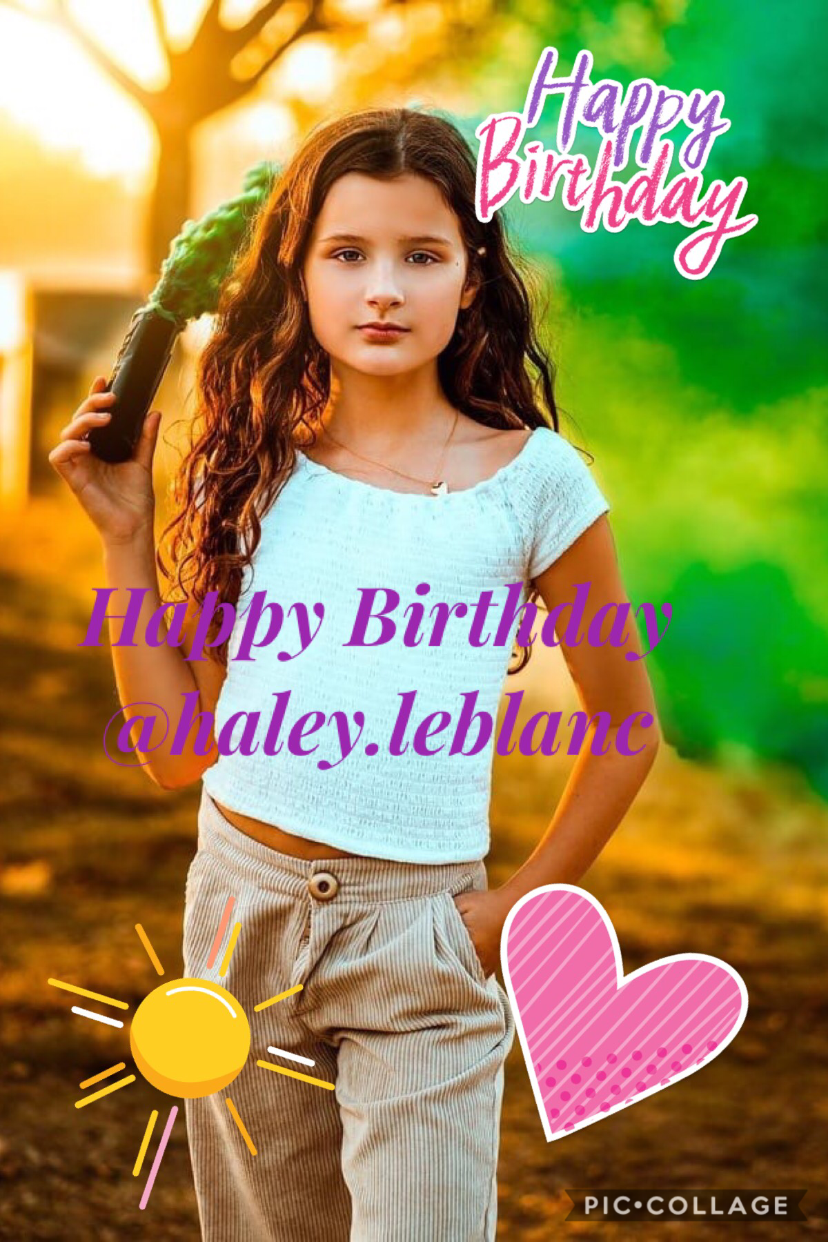 Happy Birthday @haley.leblanc (Instagram user not on PicCollage) make sure to go subscribe to her (Haley LeBlanc) for her Birthday! 🥳