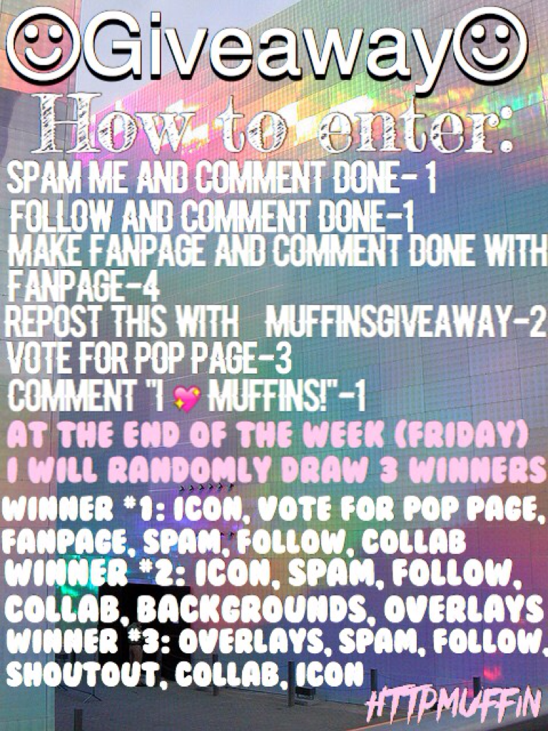 🌷important please read🌷  Three winners will be chosen and I will notify them ASAP. Those 3 winners will then comment what prize they want. Prizes go on first come first served basis so if someone already had the one you want you will have to pick a differ