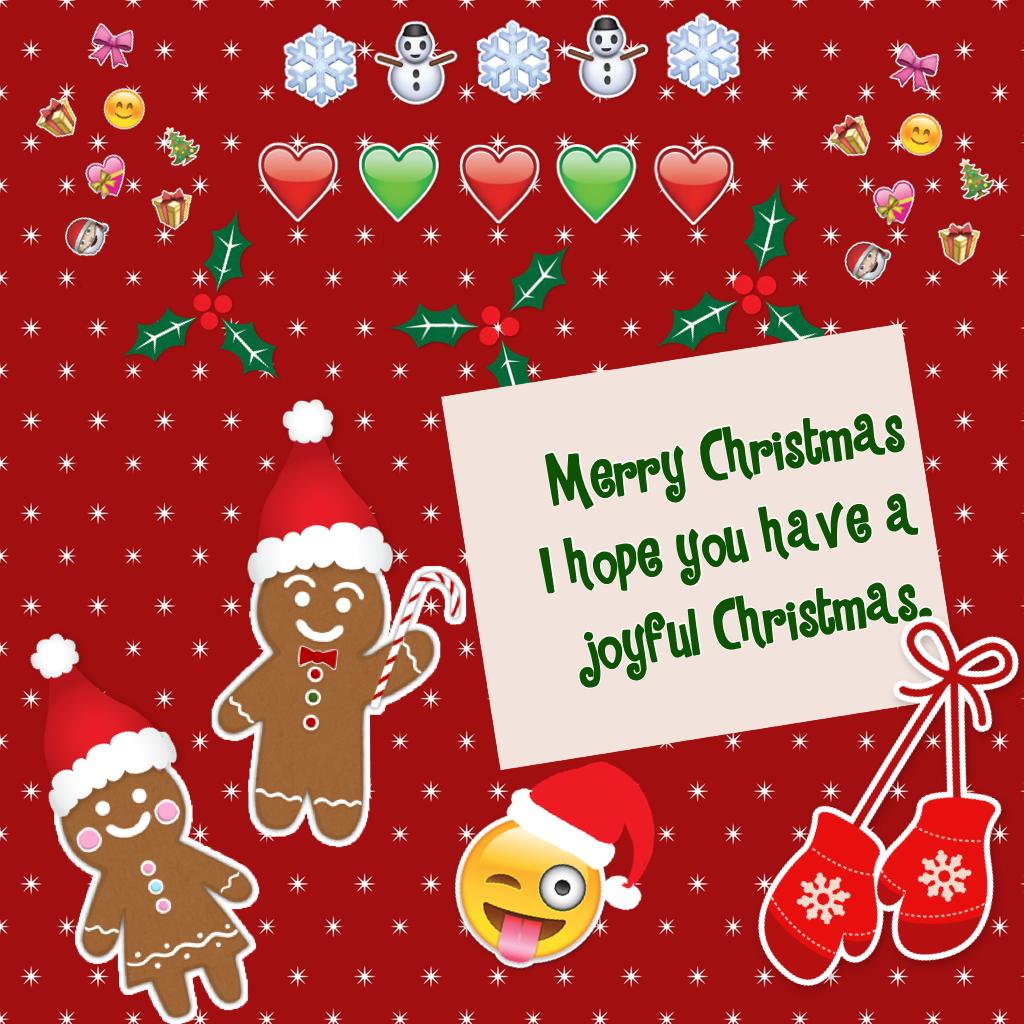 Merry Christmas  I hope you have a joyful Christmas.
