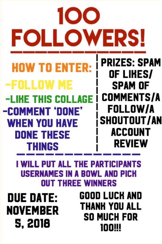 Guys go enter LexiLauren's contest for one hundred followers! She deserves a lot more followers than 100 💜 love ya Lexi