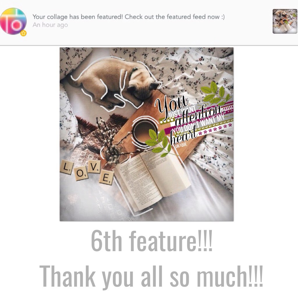 OMG my 6th feature!!! Thank you all so much!!!