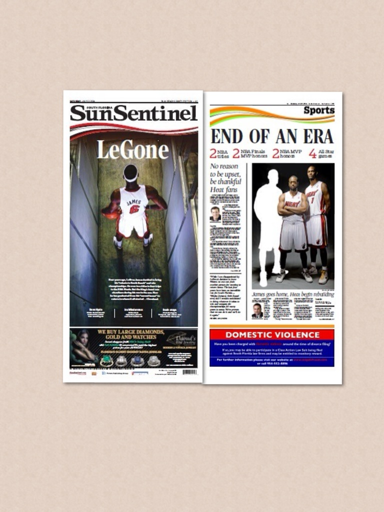 The SunSentinel newspaper and sports fronts of LeBron James returning to Cleveland.