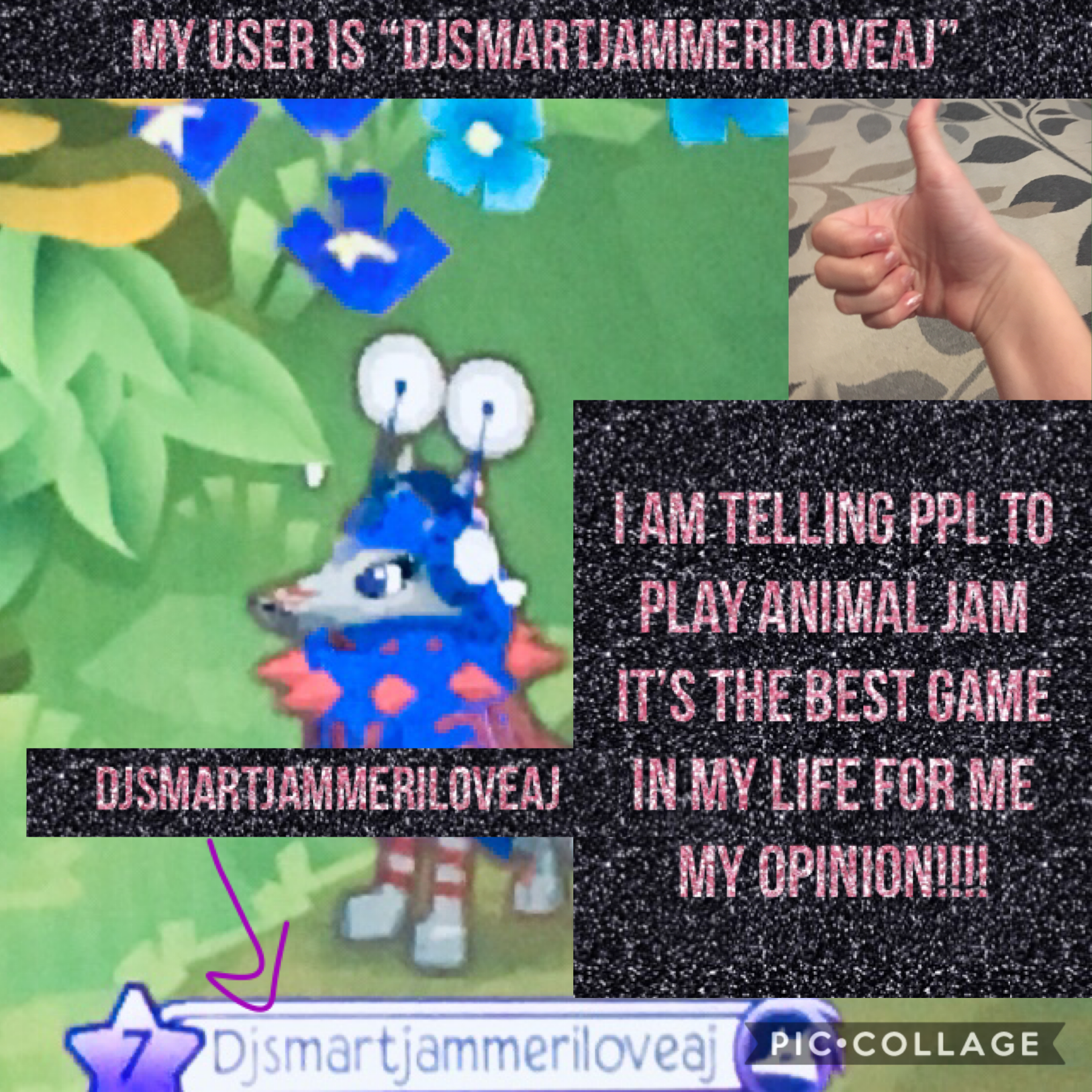 My user in animal jam is Djsmartjammeriloveaj is pls plz please buddy me!!!! I am very nice I will share some of my buddy's!!!! (Lao5, Emily17fox, Lao10, Pattiepanther11, Everythingisasome, Kittymeow109, lightflash125, and ajhqbackup!!! And that's all I c