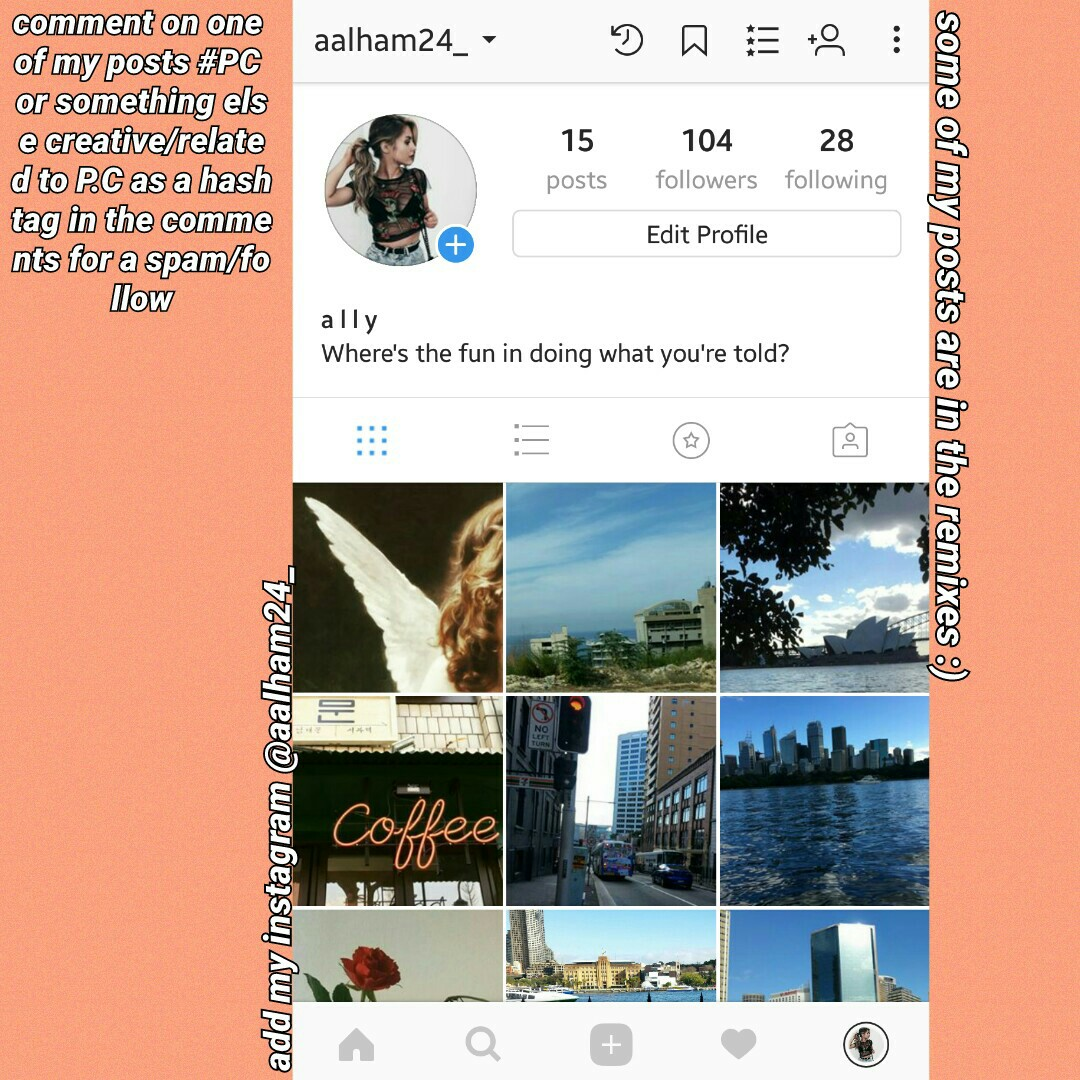 follow my insta @aalham24_ and comment on one of my posts #PC or something else creative/related to P.C as a hashtag in the comments for a spam/follow. 💋
