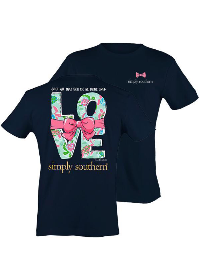 """Navy Blue """"Let All That You Do Be Done In LOVE"""" Simply Southern Tee"""
