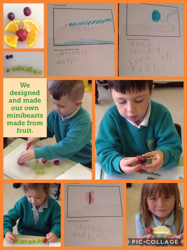 We designed and made our own minibeasts made from fruit. #piccollage