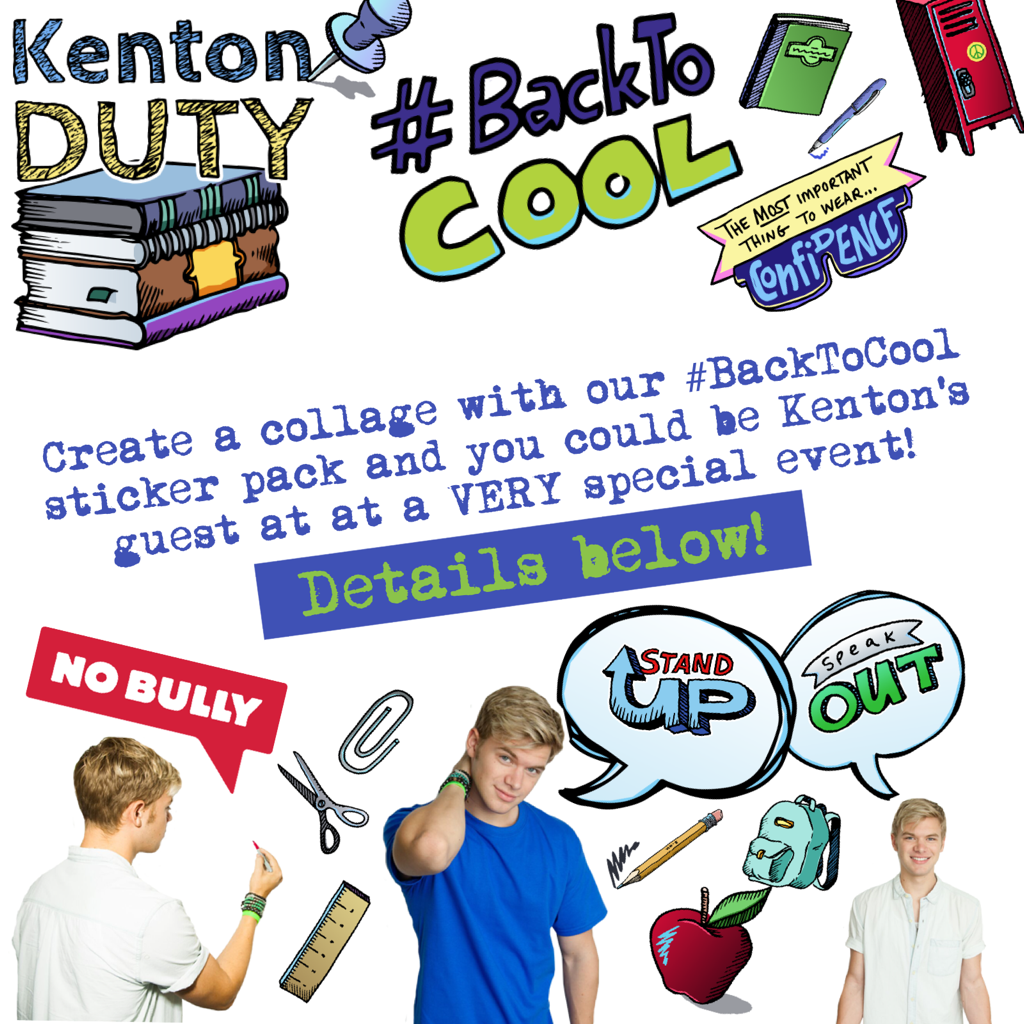 To enter:  1. Create a collage using AT LEAST 1 sticker from the #BacktoCool sticker pack. (Proceeds from the pack go to the awesome charity, nobully.org!)  2. Share the collage on Twitter, Instagram, Facebook, or respond to THIS collage in PicCollage.  3