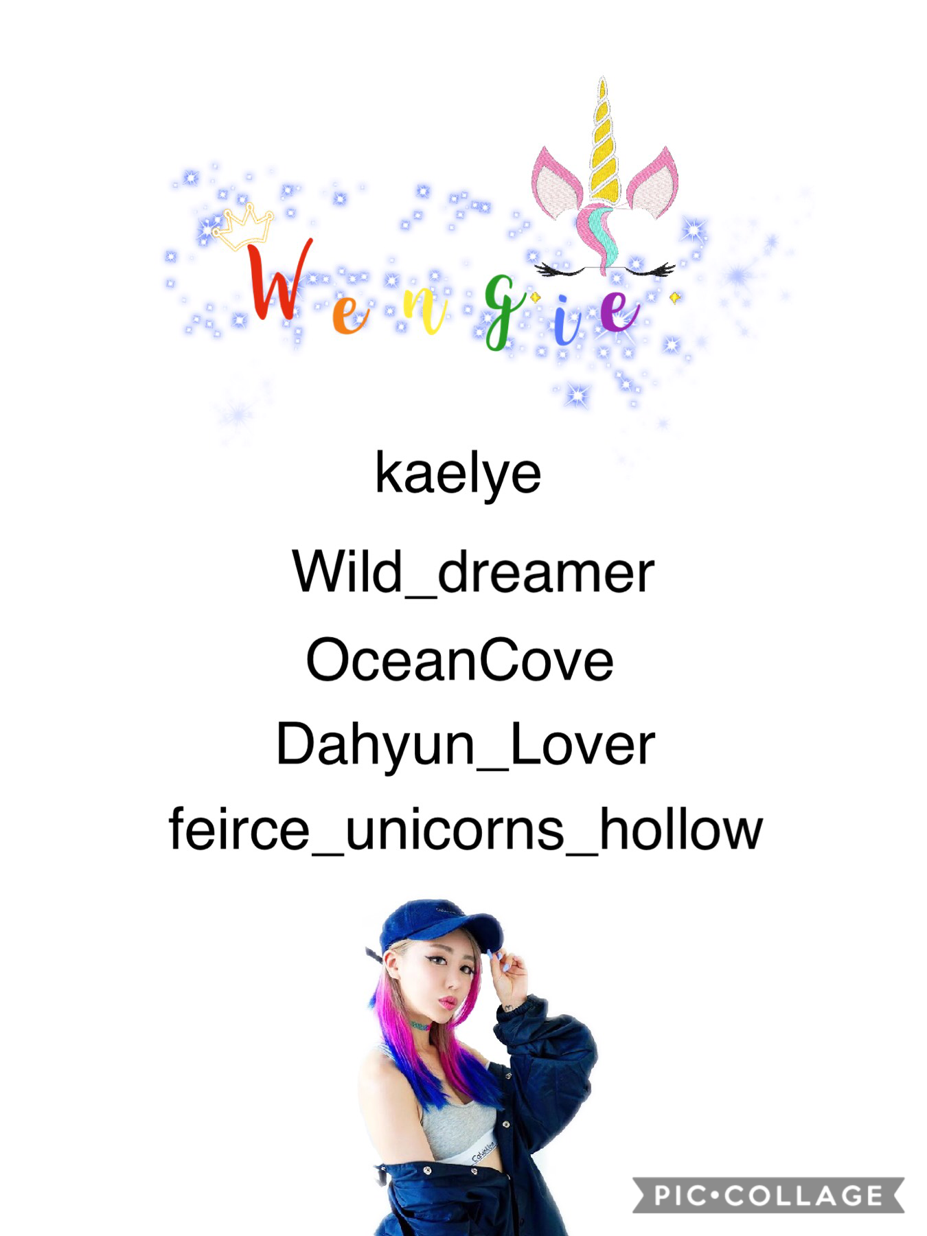 Team Wengie!! Please let me know if I spelled your username wrong.