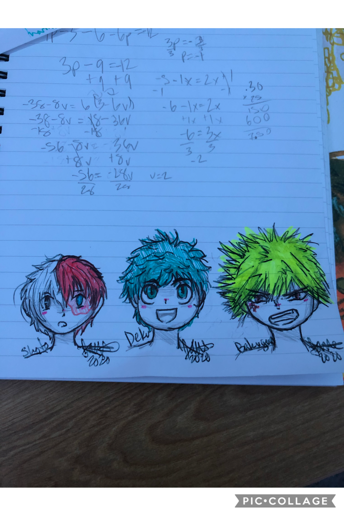 lookin pretty good for a dead bxtçh (she's aliveeee) anyways here are some sketches of Shoto, Izuku and Katsuki :)