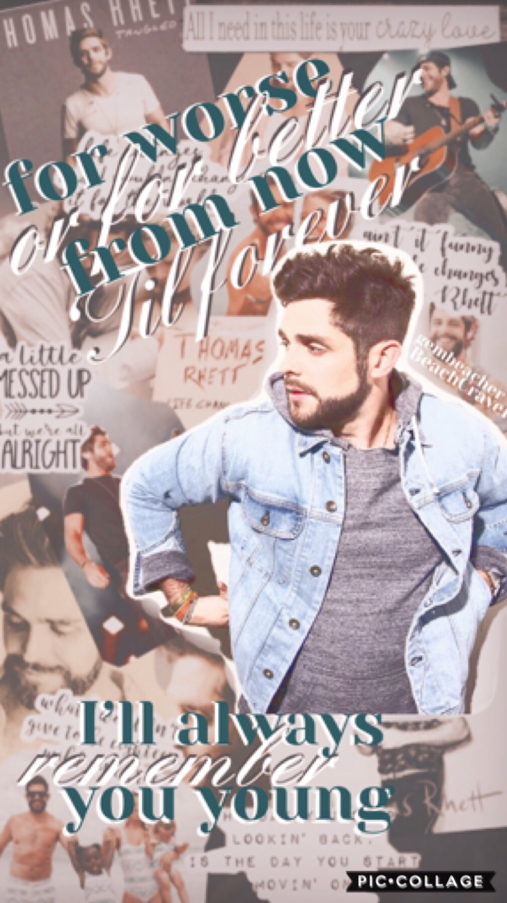 Collab with Gembeacher!!  This is a Thomas Rhett collage. Comment if you listen to him. If you haven't, do it!! He is an amazing country singer.