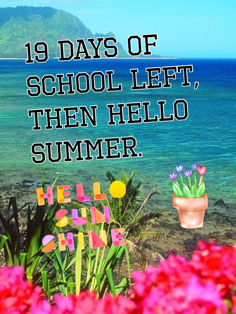 19 days of school left, then hello summer.