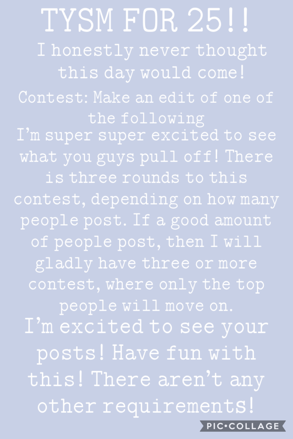 hey guys! although you probably won't see this lol, i'm doing a contest! you just make an edit of anyone in the following post! i'm excited to see what y'all pull off! have fun! 💜