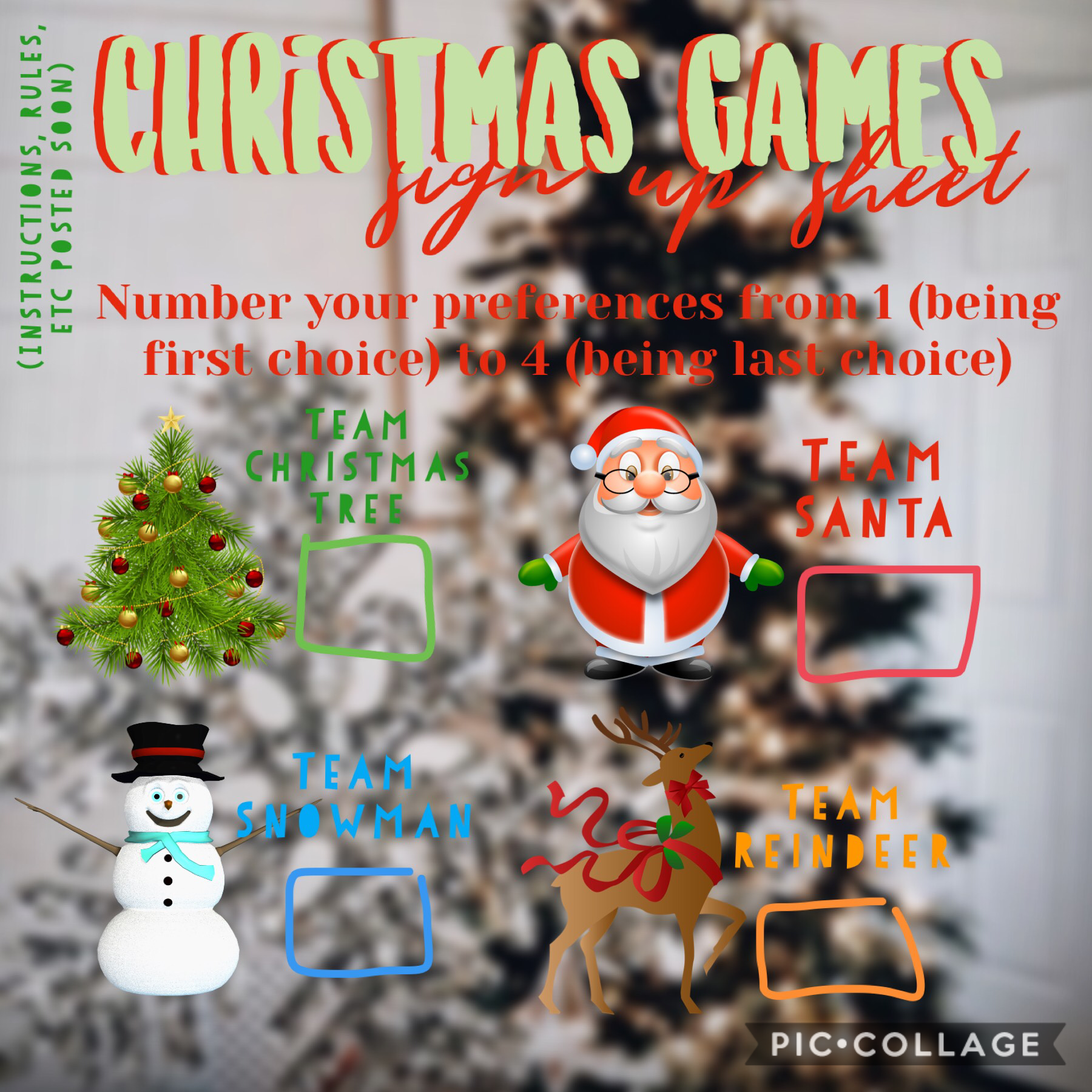 Christmas Games Sign Up Sheet