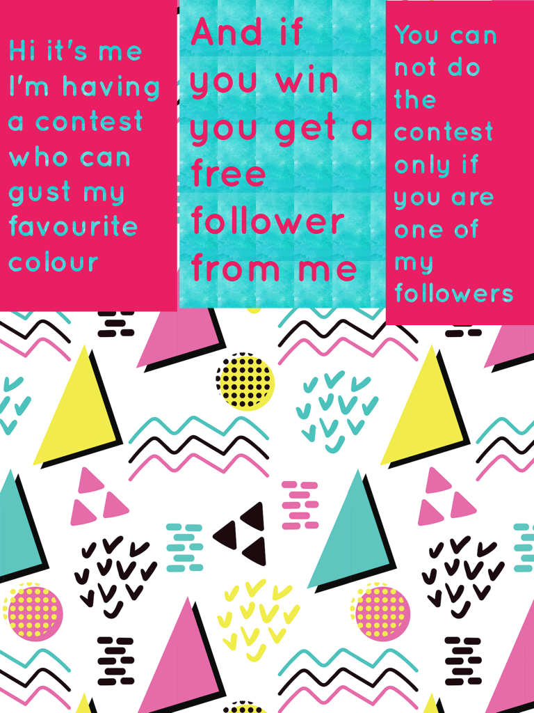 And if you win you get a free  follower from me