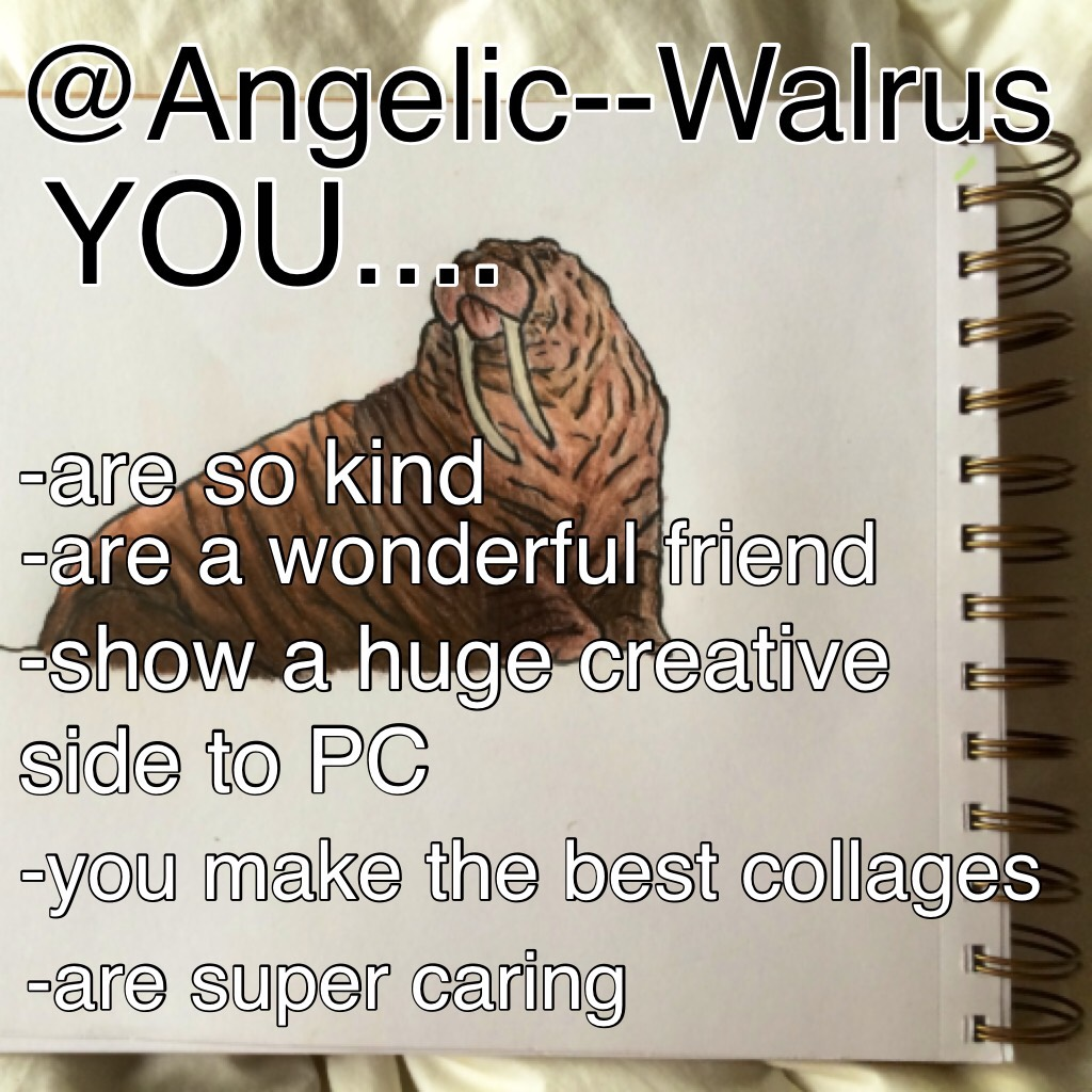 @Angelic--Walrus you are a super sweet and talented girl!! Thank you from being a constant supporter since the beginning. love you! Also, a big thanks to @_SemiSweet_ for helping create this!💖