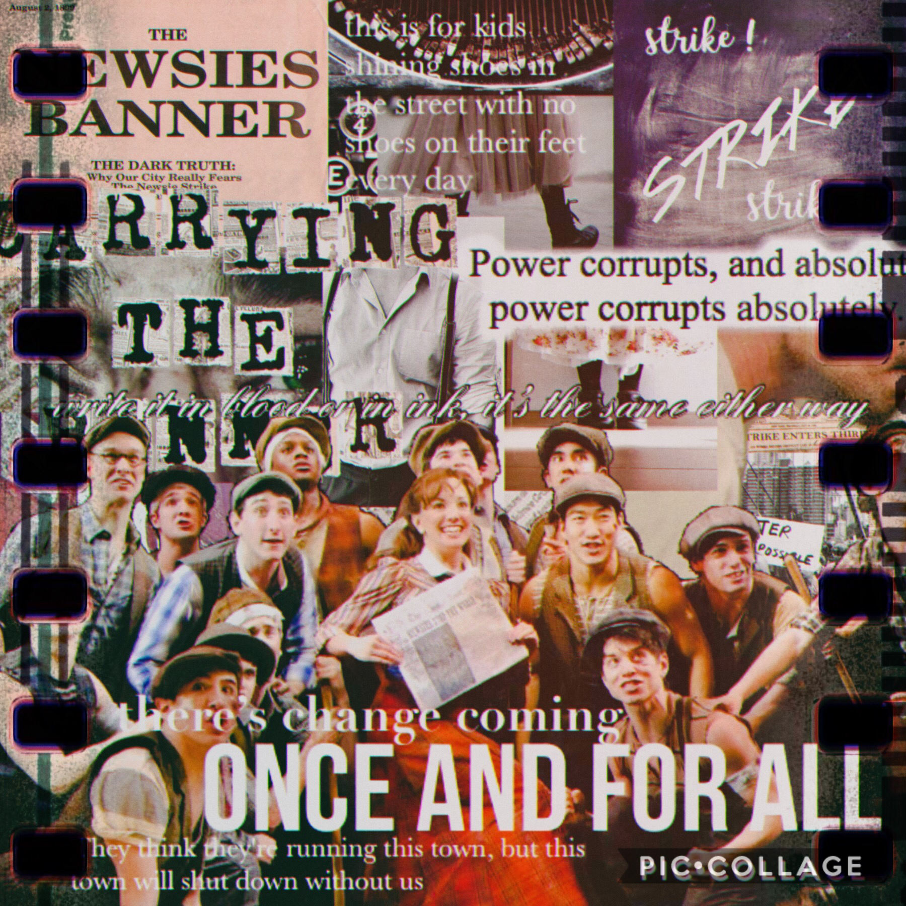 """—tap— """"give life's little guys some ink, and when it dries just watch what happens"""" an eDit ! FrOm mE ! w o w 😳  I decided to do a newsies edit bc ,, I love newsies and I think the whole musical just has such a great message ✨ it's on Disney+ and I really"""